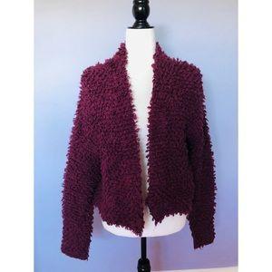 Halogen purple teddy bear cardigan sweater